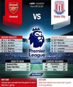 Arsenal vs Stoke City 01/04/18