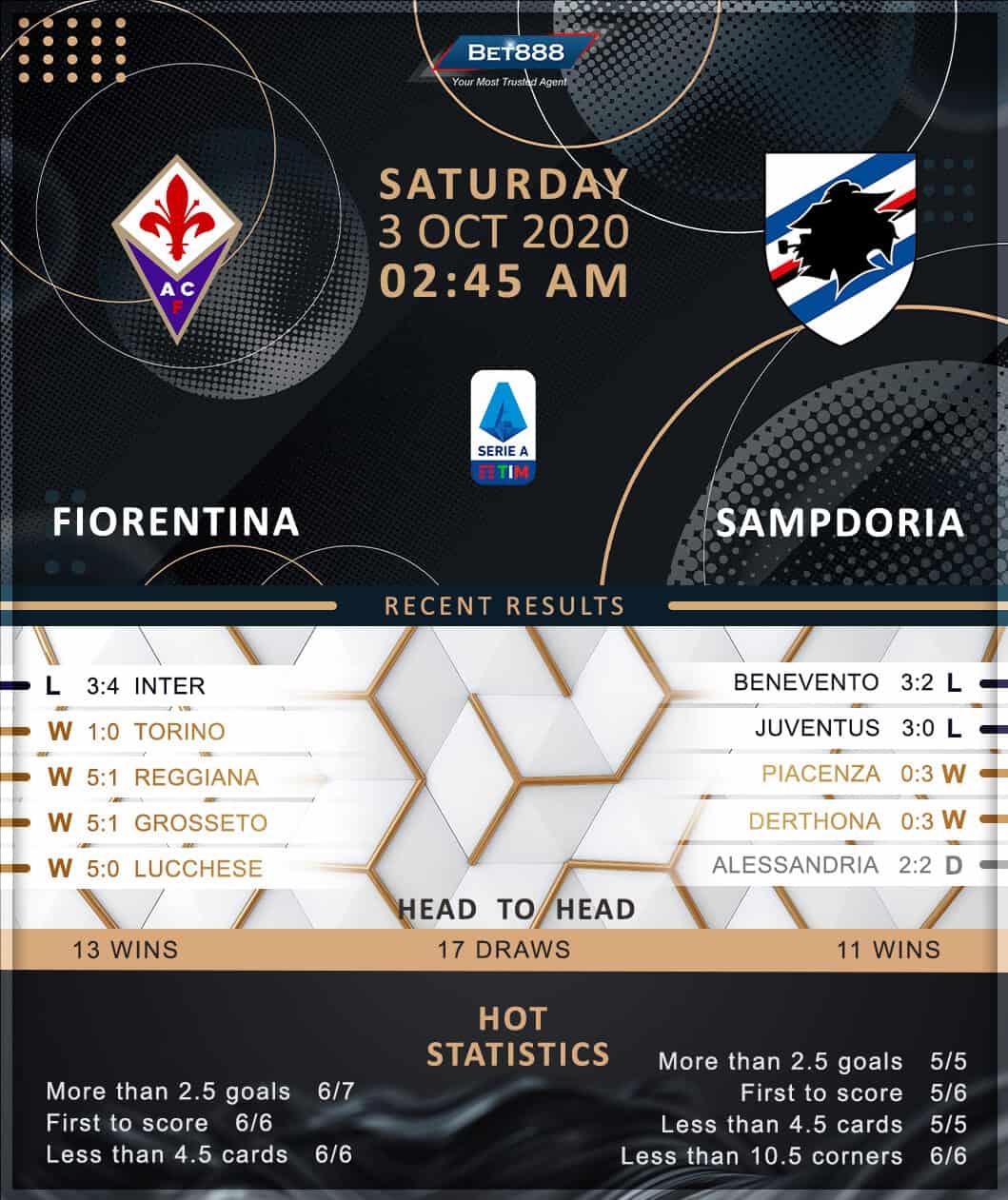 Fiorentina vs Sampdoria 03/10/20