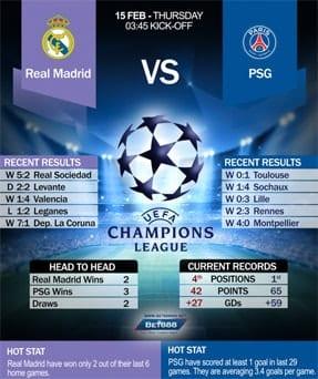 Real Madrid vs PSG 15/2/2018