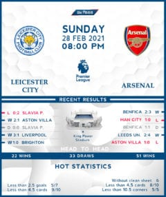 Leicester City vs  Arsenal  28/02/21